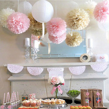 11pcs Sweet Wedding Tissue Paper Pom Flower Lanterns Fluffy Ball Bridal Shower Baby Birthday