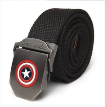 New Fashion Superhero Captain 110cm brand belt   Buckle Military Army Style Mens Womens Boys Unisex Sports  Canvas Belt