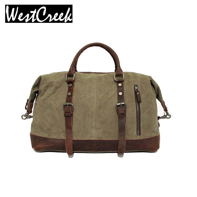 Vintage Military Canvas Leather Big Duffle Bag Men Travel Bags Carry on Traveling Luggage bags Large