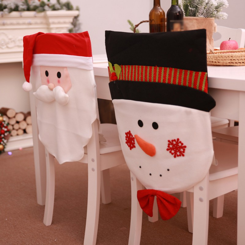 Christmas Chair Back Covers.Us 5 66 21 Off Newest Christmas Chair Covers Santa Clause Snowman Chair Back Covers Rich Christmas Holiday Atmosphere In Pendant Drop Ornaments