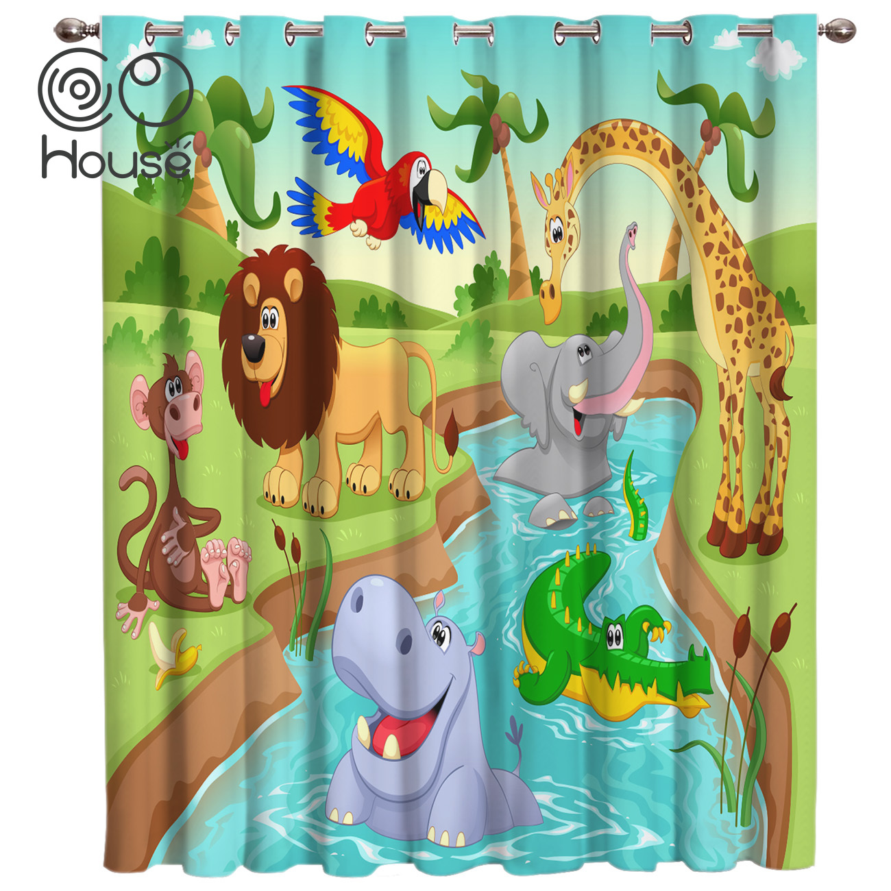 COCOHouse Cartoon Zoo Room Curtains Large Window Window Curtains Dark Curtain Lights Blackout Kitchen Outdoor Indoor Floral Drap