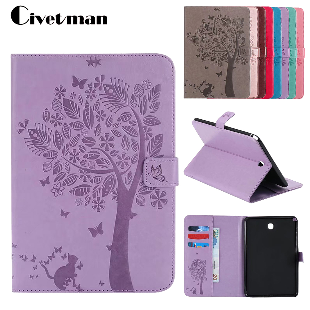 Case For Galaxy Tab A 8.0 T350 Lucky Tree PU Leather Fundas Case For Samsung Galaxy Tab A 8.0 T355 P350 T351 Tablet Cover luxury tablet case cover for samsung galaxy tab a 8 0 t350 t355 sm t355 pu leather flip case wallet card stand cover with holder