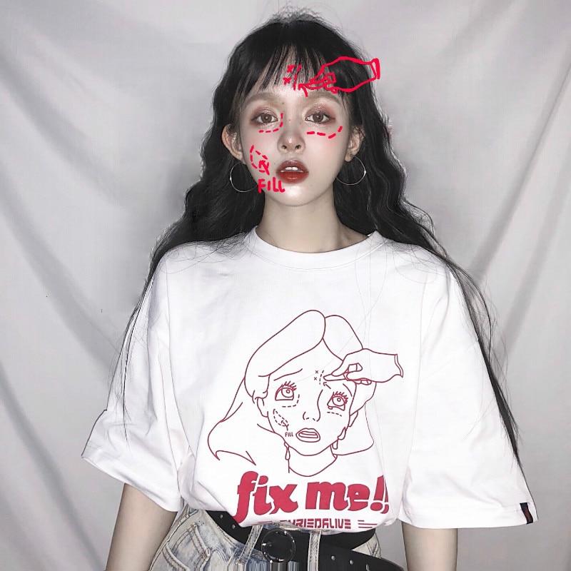 Camisetas Mujer Summer Womens Clothes Korean Ulzzang