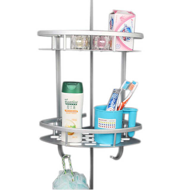 Double Tier Brushed Nickel Space Aluminum Wall Mounted Bathroom Shelf  Shower Caddy Rack 2 Layers