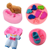 4Pcs Baby 3D Cake Decorating Mold Silicone Fondant Baby Clothes Shoes Feet Car Toys Sugarcraft Chocolate Cookie Mould Tools