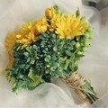 SoAyle 2016 Vintage Bouquet  Brides Bouquet Simulation Daisy Hand 22cm Wedding Bouquet Plain Young Lady