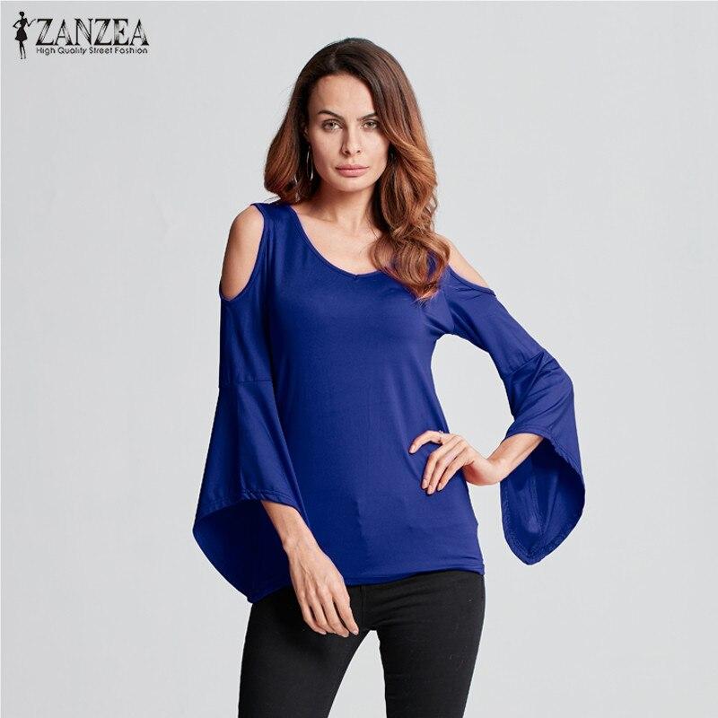 40f4ba0415b8e Zanzea mujeres sexy V Masajeadores de cuello hombro Blusas 2018 Lady Flare  manga blusas asimétrico cuff Camisas casual stretchy Tops