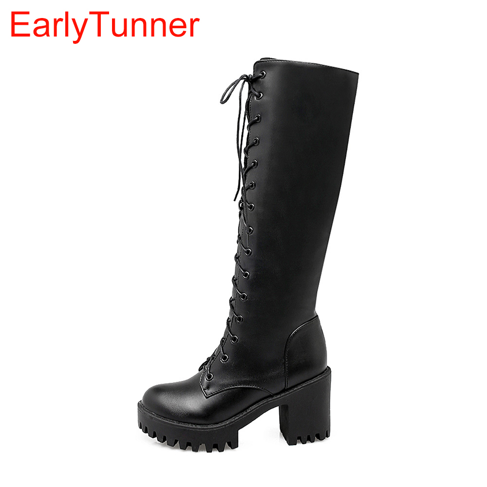 Brand New Winter White Black Lace up Women Platform Knee High Riding Boot Lady Anti-slip Chunky Shoes EK87 Plus Big size 10 43 brand new sexy women motorcycle boots black red beige white lady ankle riding shoes fashion nude heels ay902 plus big size 43 48