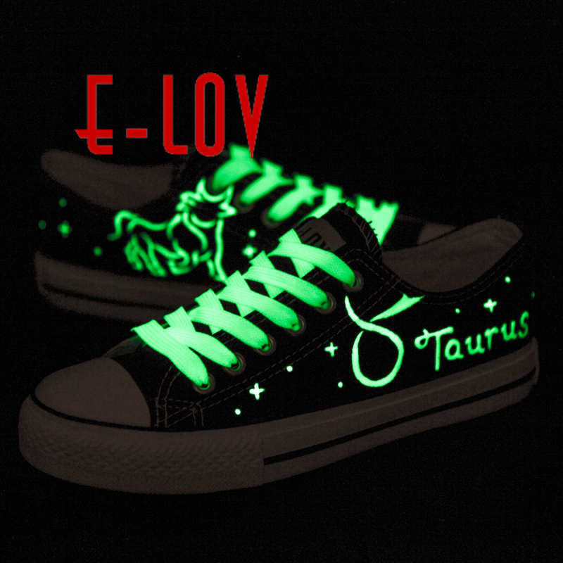E-LOV Hand-Painted Constellation Saittarius Taurus Luminous galaxy Shoes Canvas Shoes Noctilucence Personalized Casual Shoes