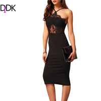 Sexy Clubwear Ladies Famous Brand High Street New Arrival 2016 Black Halter With Lace Sleeveless Knee
