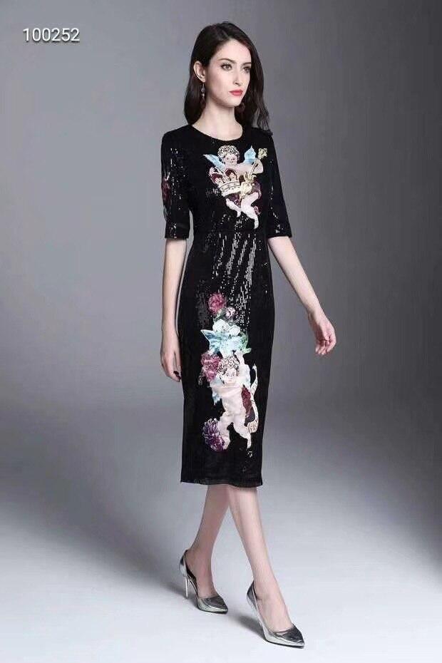 WLD08260 Высокое качество нового Мода Для женщин 2018 осеннее платье Элитный бренд Европейский Дизайн Винтаж стильное платье