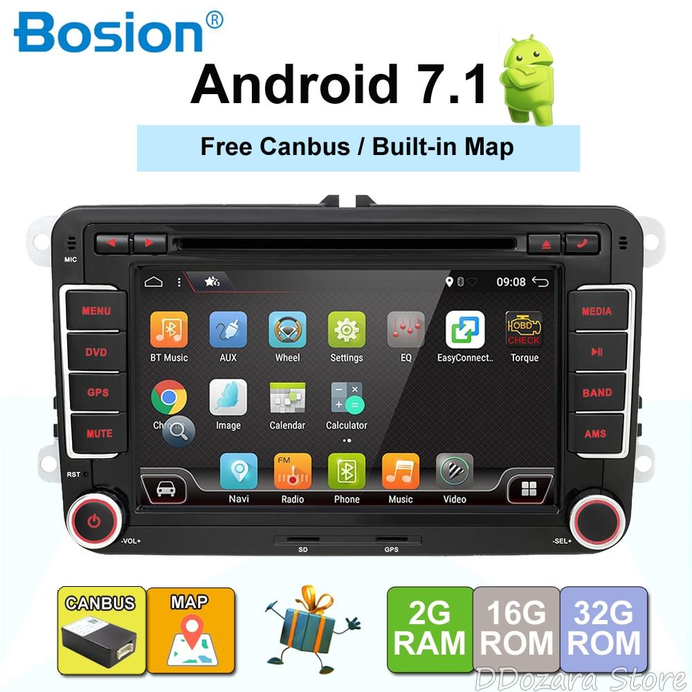 3g Quad Core 2 din Android 7.1 lecteur DVD de Voiture pour VW GOLF 5 Golf 6 POLO PASSAT SKODA CC JETTA TIGUAN TOURAN GPS