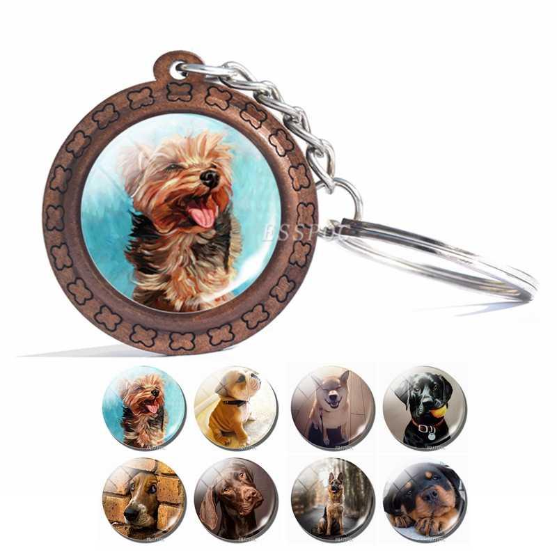 LLavero de perro 2019 nueva llegada foto de perro cristal Domo llavero de madera hecho a mano regalo para el amante de los perros