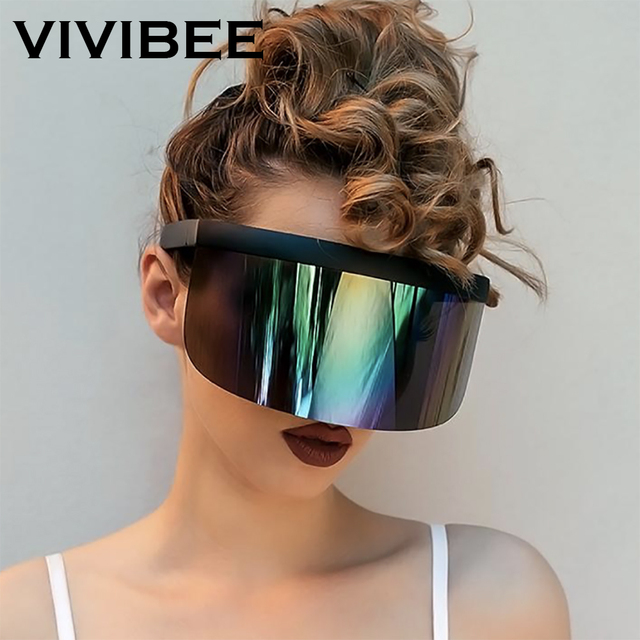 VIVIBEE Nicki Minaj Women Visor Sunglasses 2020 Trending Product Mirror Fun Sun Glasses UV400 Fashion Shades 1