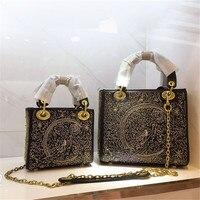 Роскошные Дизайнерские Сумки из натуральной кожи, женские сумки через плечо, вышитая женская сумка с цепочкой, Брендовые женские сумки, жен