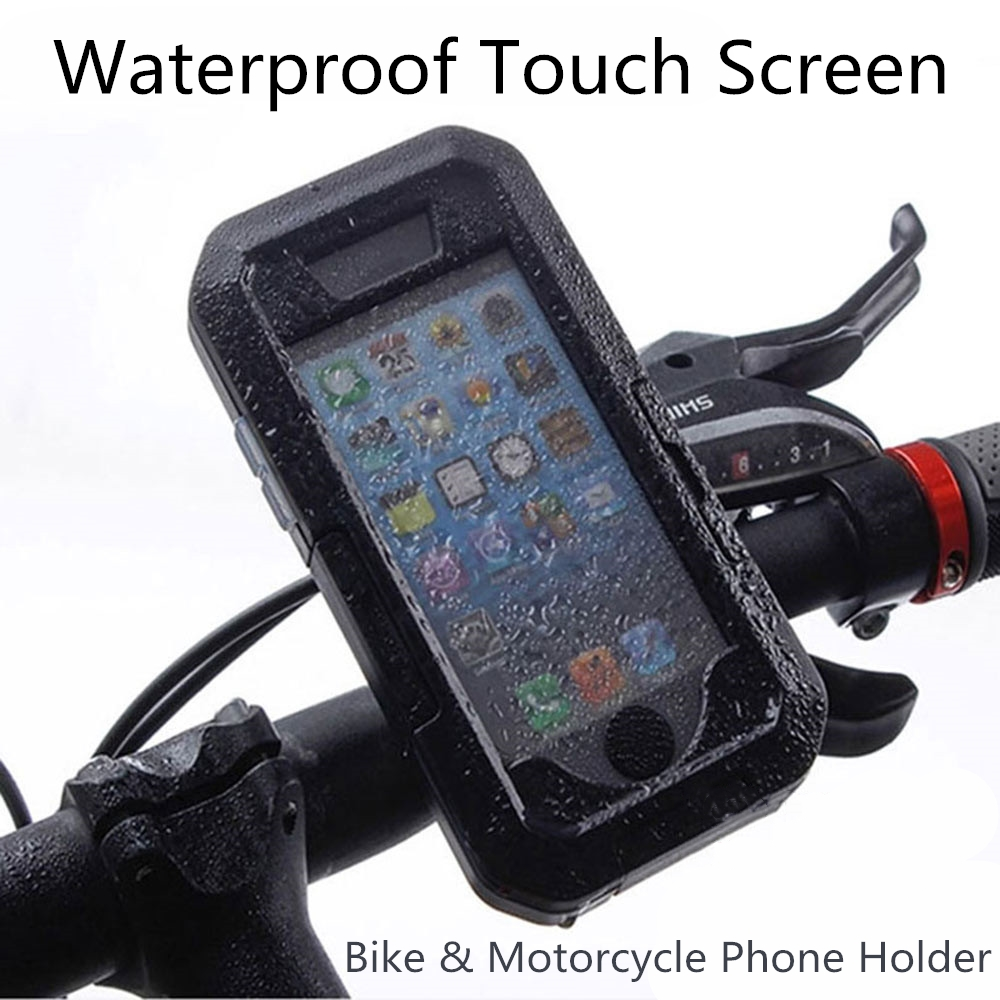 Outdoor Motorcycle Bicycle Bike Mobile Phone Holder Stand Support for iPhone X 8 7 6 6s Plus 5s GPS Waterproof Touch Screen Case