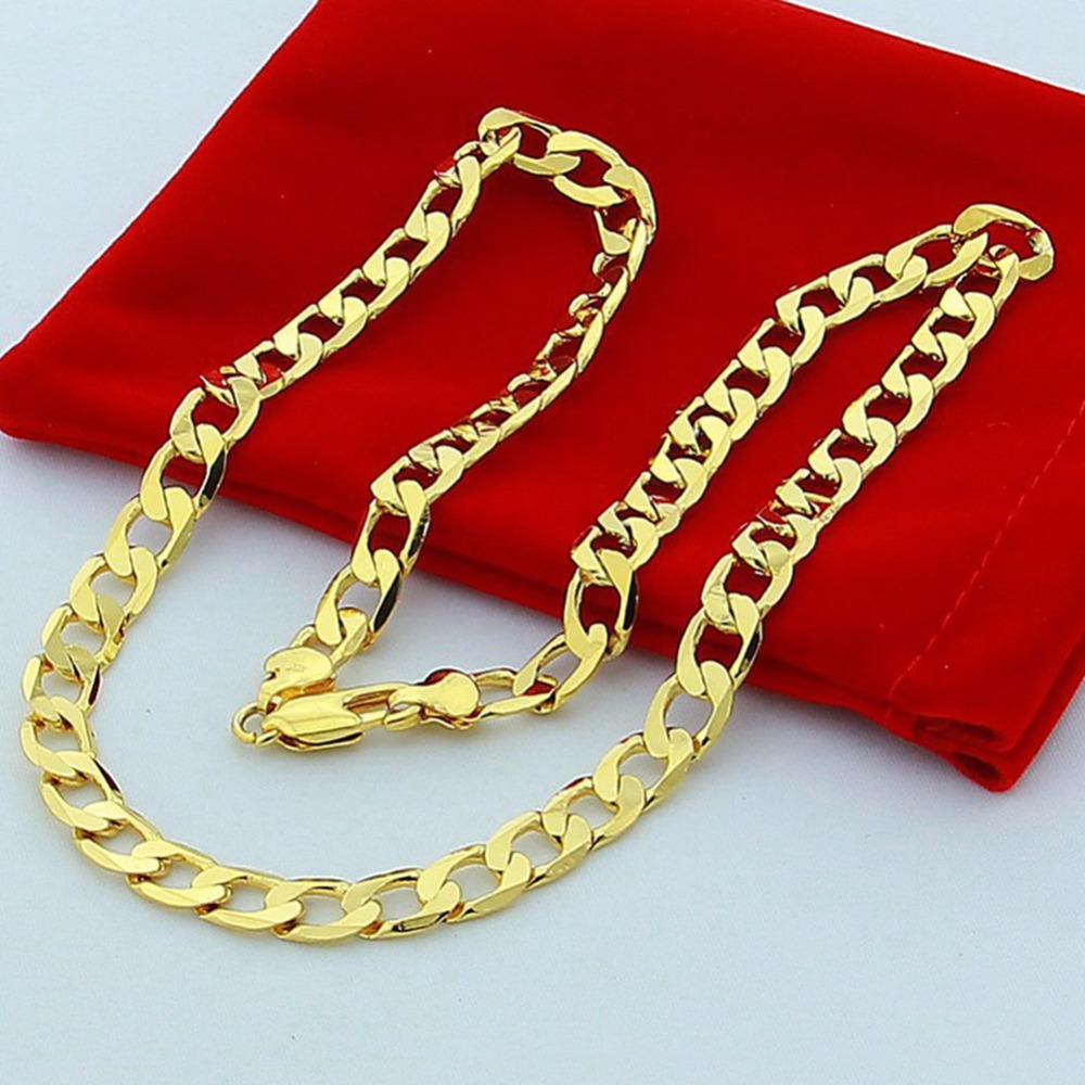 Cool Mens 6mm 24K Gold Color Snake Chain Necklace
