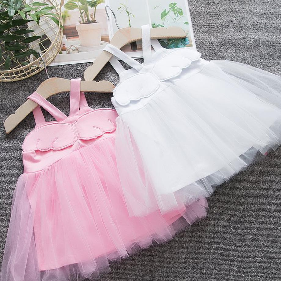 dresses for girls 2019 high quality angel wings children dress princess party dress new brand strapless mesh baby girl clothes Dresses     -