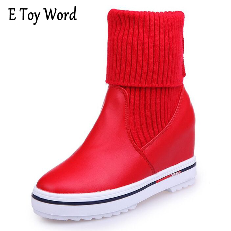 E TOY WORD Thick bottom women in the boots 2017 autumn and winter new flat shoes stretch knitted wool boots increased Korean e toy word canvas shoes women han edition 2017 spring cowboy increased thick soles casual shoes female side zip jeans blue 35 40