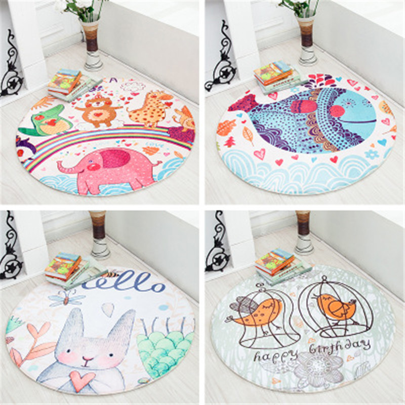 Baby Mutifunctional Play Mats Cartoon Animal Carpet Toy Kids Game Mats With Anti-slip Grain Home Rug Baby Crawling Round Blanket