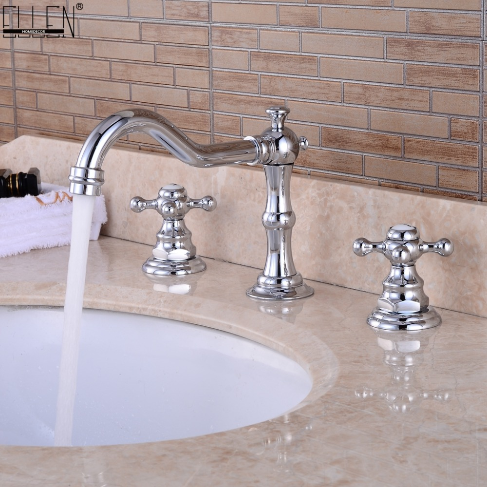 Widespread Bathroom Sink Faucet 3 Hole Deck Mounted Dual Handle Hot Cold Water Mixer Tap Brush
