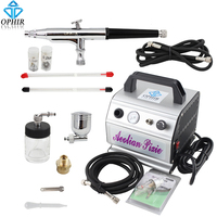 New 2015 OPHIR 110V 220V Airbrushing Gravity Paint Dual Action Airbrush Compressor Kit For Wall Paint