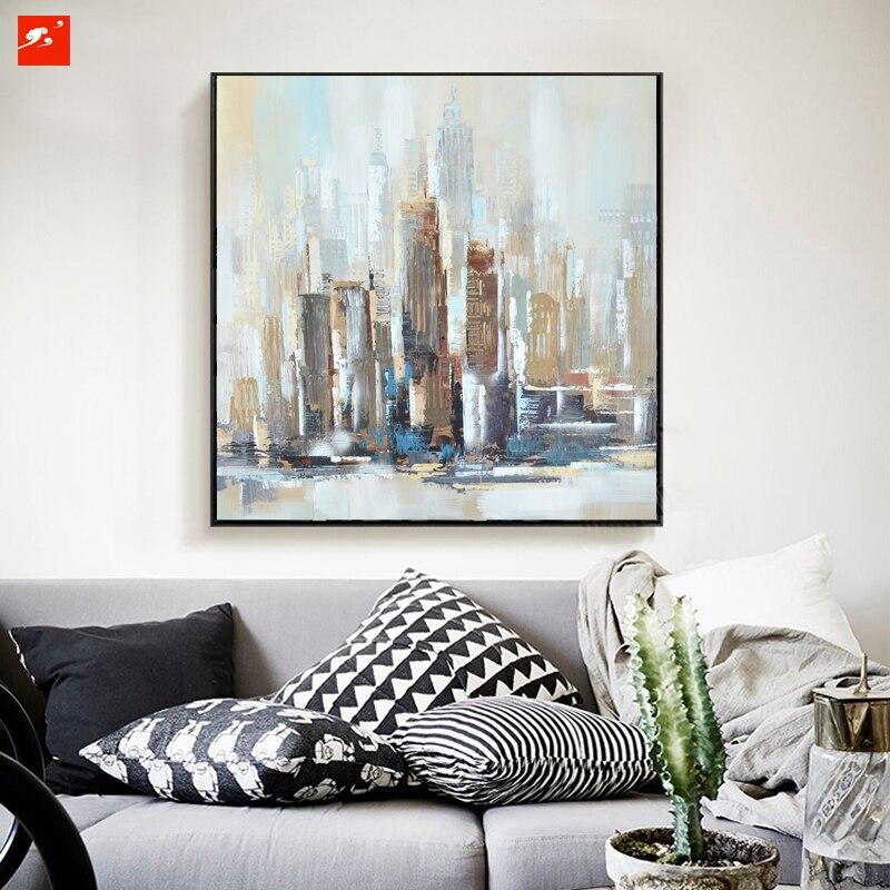 new york moderne stad architectuur abstract skyline olieverf op, Deco ideeën