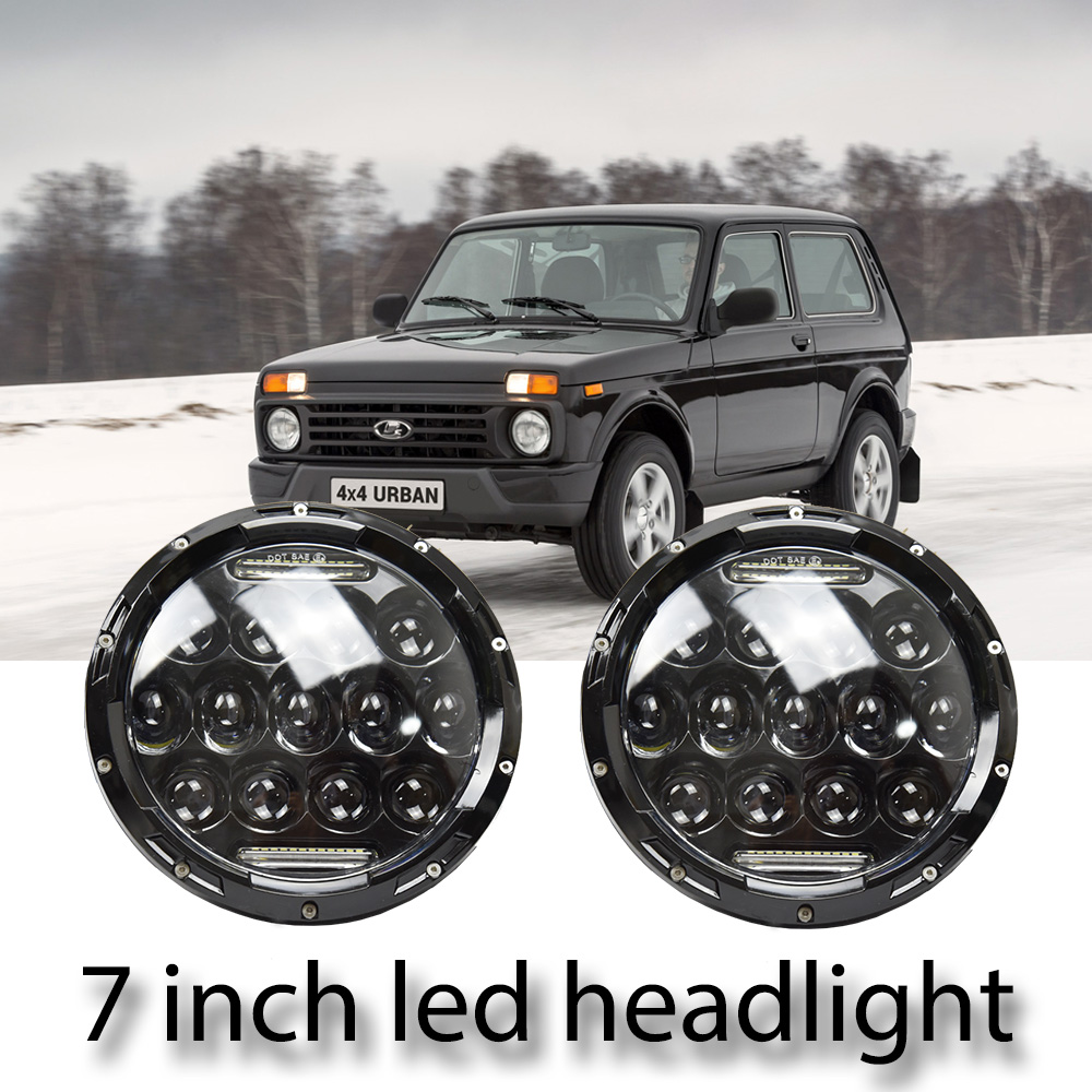 1 Pair Running Lights 75W Car Led H4 7 inch Angel Eyes Car Accessories 35W H4 Led Headlight For Lada Niva 4X4 Uaz Hunter jeep led headlight lights angel eyes