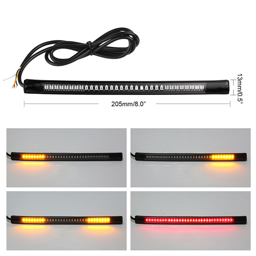 Universal 48 LED Motorcycle Tail Brake Turn Stop Signal Integrated Light Strip