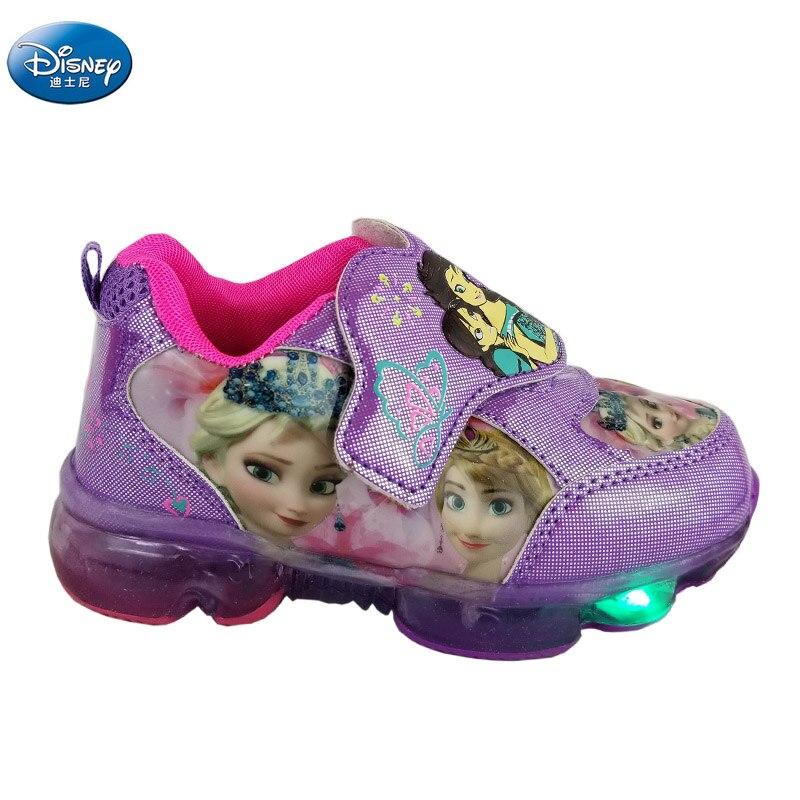 Filles congelées dessin animé violet chaussures décontractées avec lumière elsa et Anna neige princesse baskets Europe taille 28-33