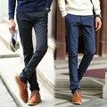 Pantalones tipo recto estilo de los hombres de otoño e invierno pantalones de ropa de hombre delgado pantalones casuales pantalones de tela escocesa de los hombres