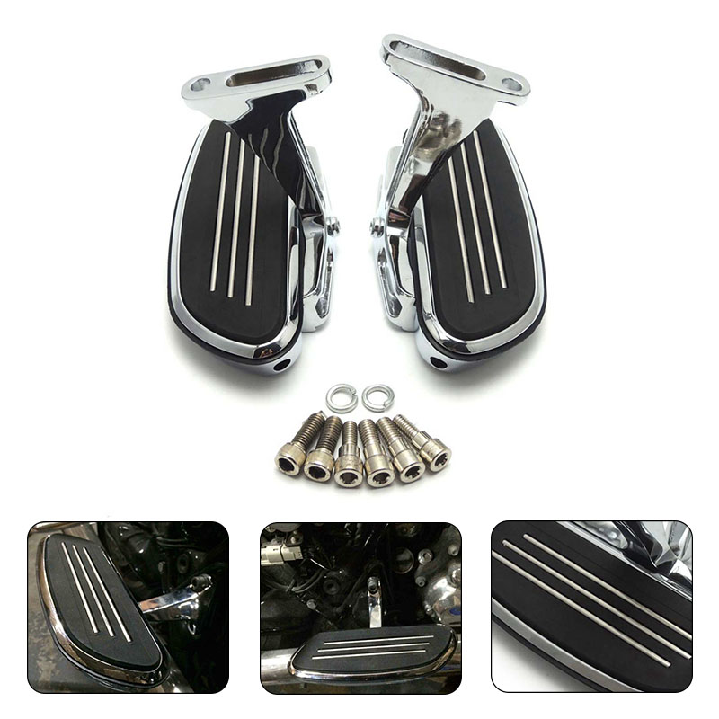 For Harley Chrome Footrest Streamliner Footpegs Mounting Kit with Bracket For Harley Touring Road King 1993 2016 Footboard