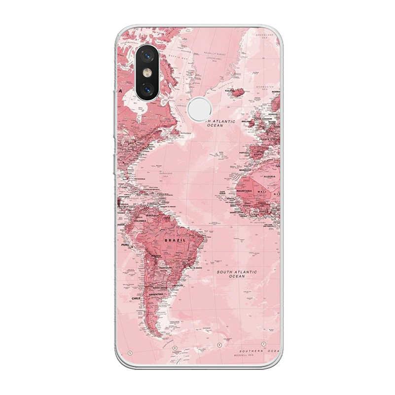 Ciciber 電話ケース Xiaomi 9 A2 8 6X 5X 5C 5 4S 5 6 A1 プロプラス Lite SE pocoPhone F1 世界地図 Xiaomi MIX · MAX 3 2S 2 Coque