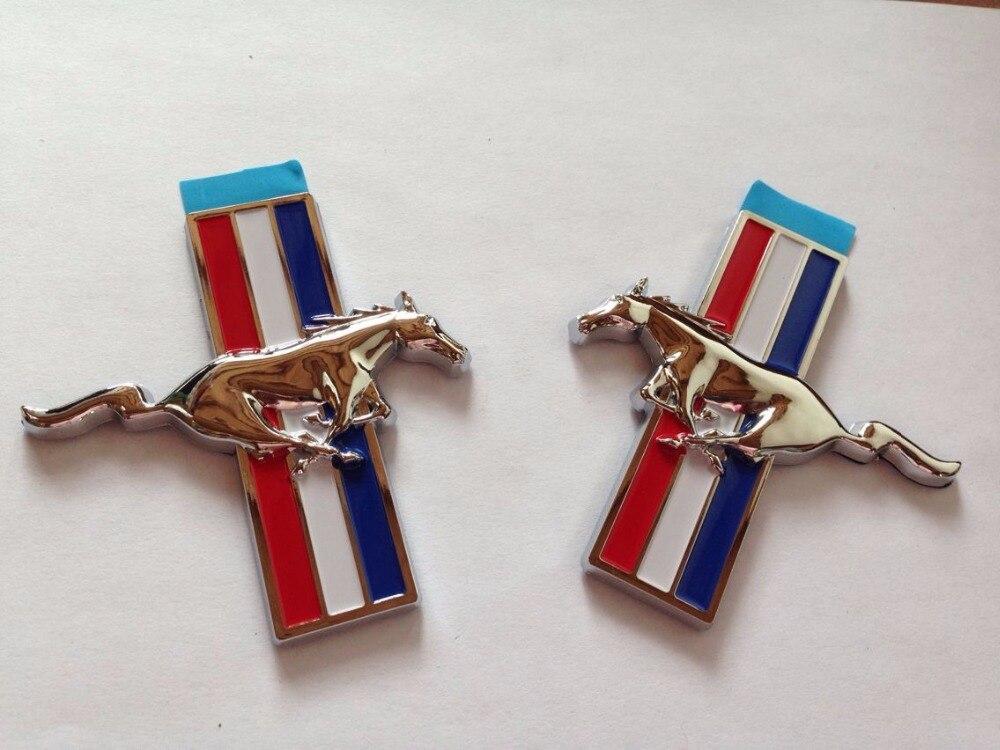 NEW Mustang Running Horse Chrome Pony Tri Bar Emblem Badge -1 PAIR