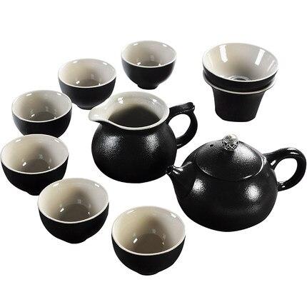 Set de thé Kung Fu en céramique Simple ménage style rétro japonais poterie noire Xi Shi théière thé cérémonie ensemble cadeau