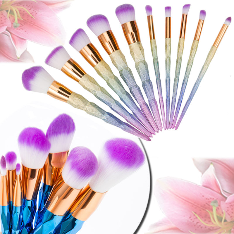 Unicorn Diamond Rainbow Makeup Brushes Tools Kit Power Foundation Blush Eye Shadow Blending Fan Cosmetic Make Up Brush Maquiagem