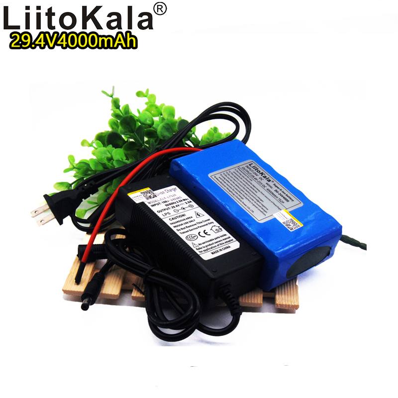 Liitokala 24V4000mah rechargeable lithium <font><b>battery</b></font> 7S2P 18650 <font><b>29.4V</b></font> 4ah lithium <font><b>ion</b></font> bms <font><b>battery</b></font> pack LED light power supply image