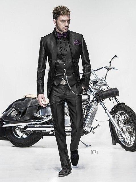 fc2f382b27 Latest Coat Pant Designs Italian Black Satin Men Suit Custom Suits Slim Fit  3 Piece Prom