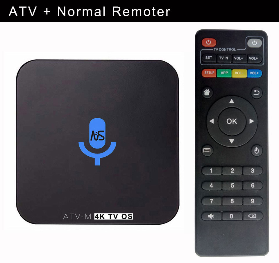 1pcs ATV-M S905X 4K Voice Control Smart Android TV OS box Streaming Box Support Google Play Youtube Netflix