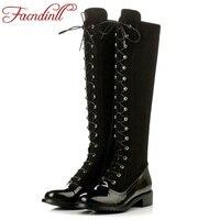 Buty marki mody wiązanej krzyżowe zima kobiety kolana wysokie buty ze skóry lakierowanej stretch kobiety czarne buty motocyklowe ud wysoka buty