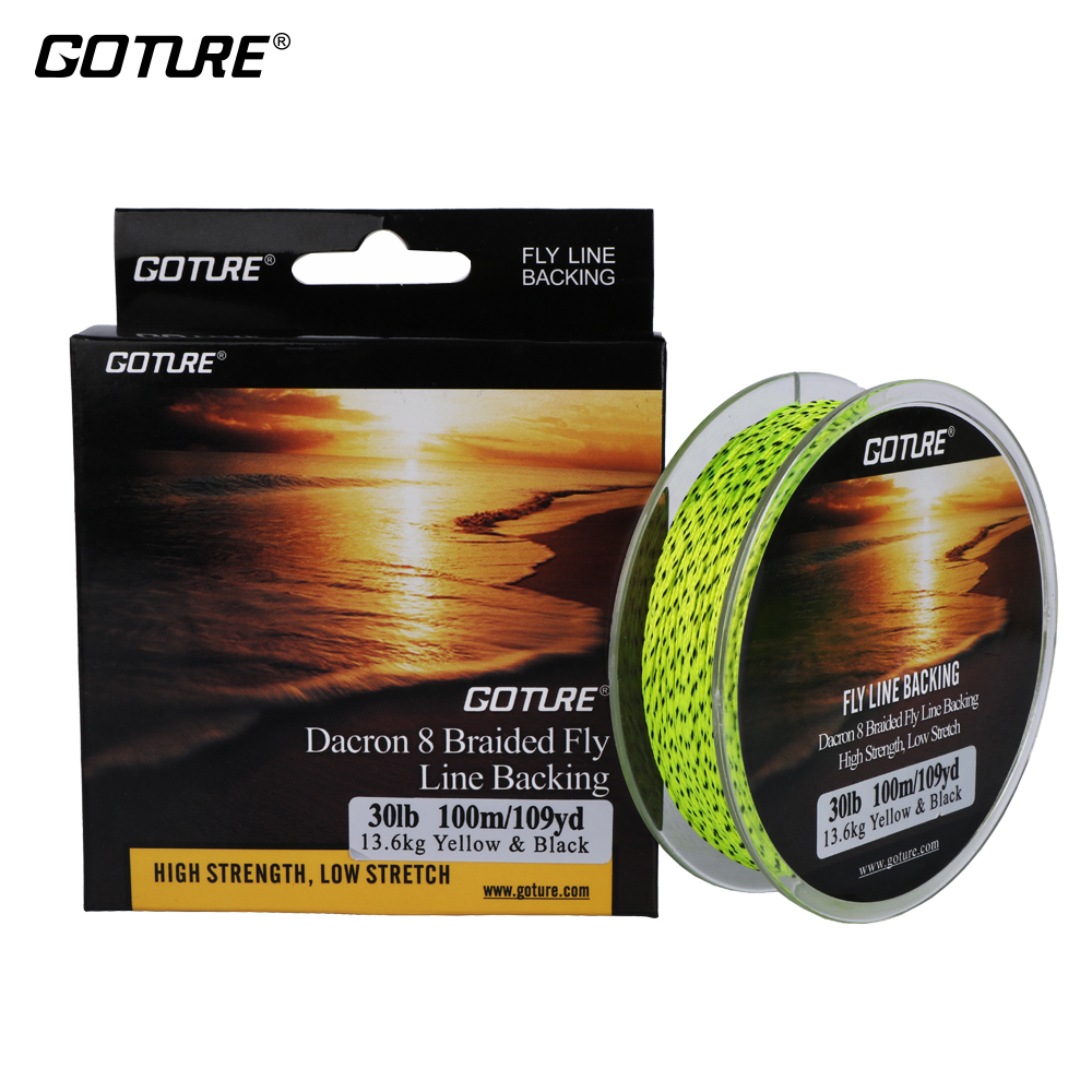 Goture 100M / 109Yrd Fly Fishing Backing 8 joont 20LB / 30LB Dacron põimitud joon Orange / Yellow / White / Double Color Madal venitus