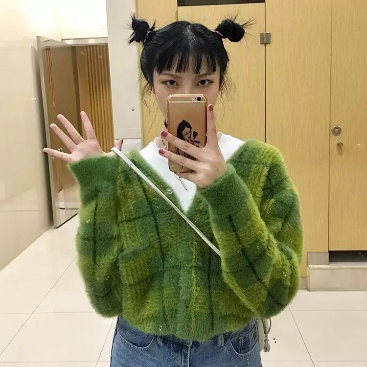 Winter Frauen Korean Ausschnitt V Strickjacken Frau 2018 Brusttaschen Karierte Einzelne Pullover BlauGr Pullover 3Lj4RcAS5q
