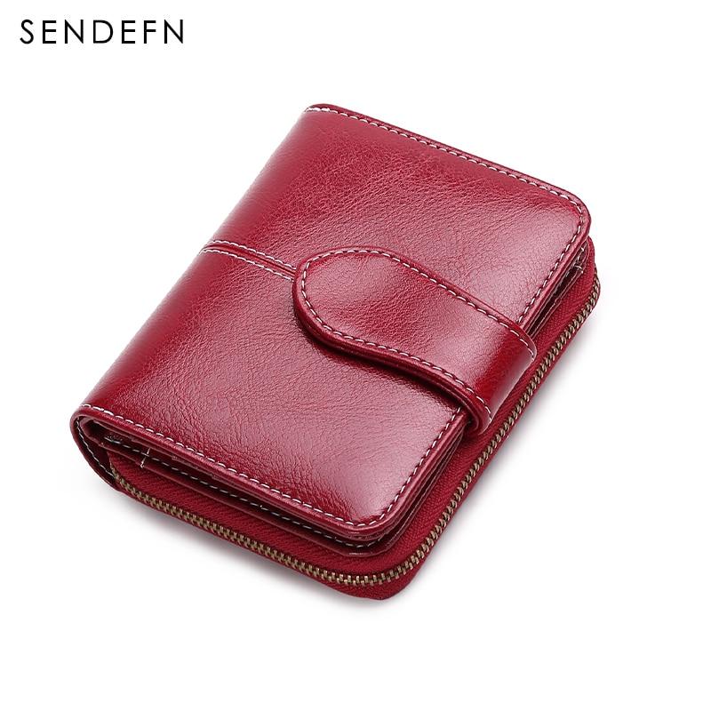 Sendefn fashion vintage women wallets split leather lady zipper hasp purse small card holder wallet