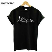 Фотография MOXFCIZO Paw Heartbeat Lifeline dog cat Women tshirt Halajuku Casual Funny t shirt Women Unisex Lady Girl Women Top Tees Hipster