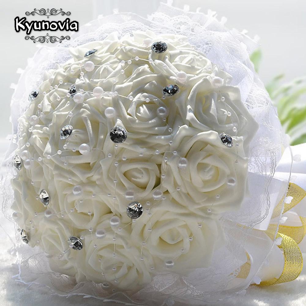 Aliexpress Buy Kyunovia Wedding Bridal Bouquet Pe Rose
