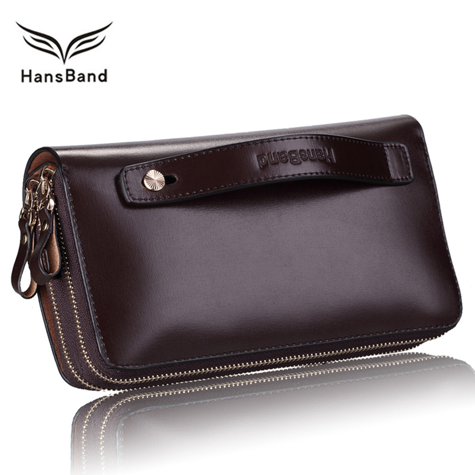 Genuine Leather Men Clutch Wallets Luxury Brand Wallet Big Capacity Famous Designer Men Wallet  Fashion Male Purse Phone Bag banlosen brand men wallets double zipper vintage genuine leather clutch wallets male purses large capacity men s wallet