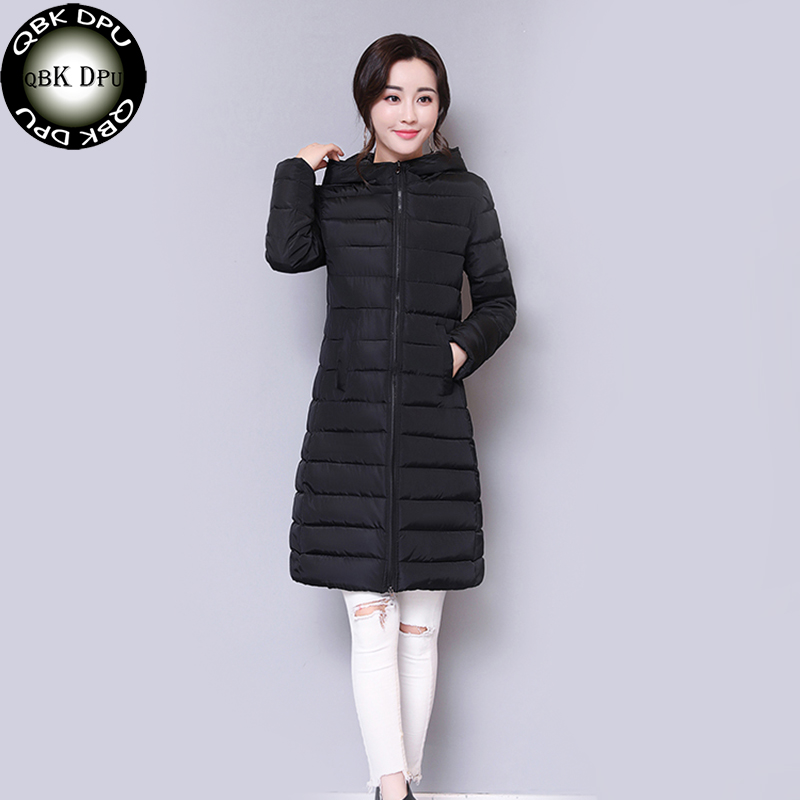 Women's winter slim hooded jacket 2018 New casual thin Wadded Clothing Female waterproof Cotton Long   Parkas   Lady chaqueta mujer