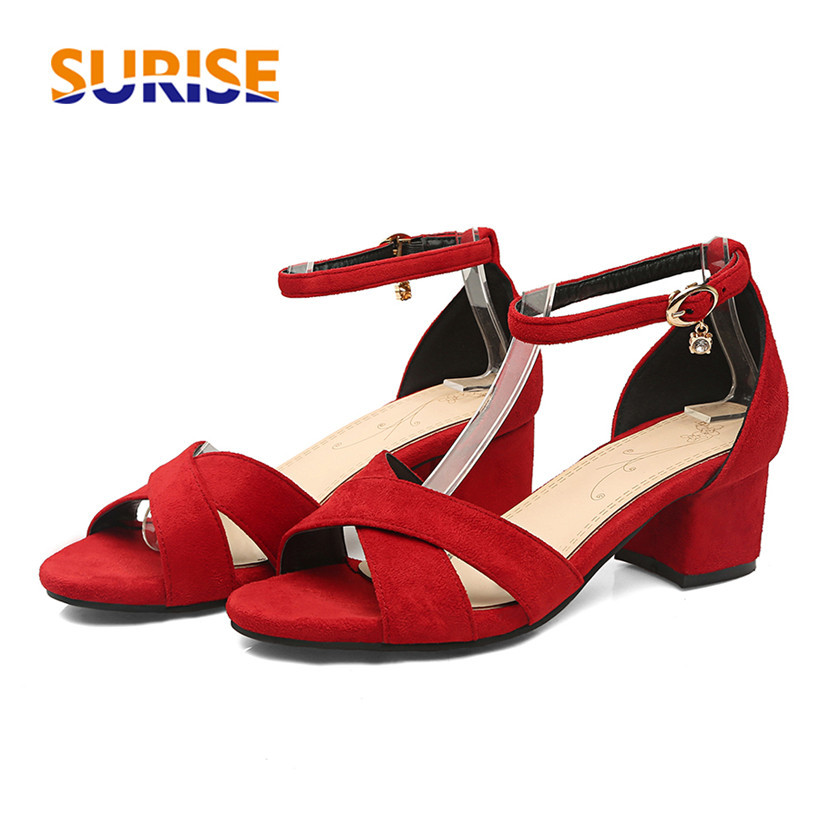 Big Size 5cm Medium High Thick Block Heels Women Sandals Flock Open Toe Casual Party Ankle Cross Strap Summer Black Ladies Shoes red high heels women shoes open toe ankle strap blue sandals stiletto chic fringed party d orsay shoes ladies large size 16