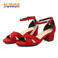 Big Size 5cm Medium High Thick Block Heels Women Sandals Flock Open Toe Casual Party Ankle Cross Strap Summer Black Ladies Shoes