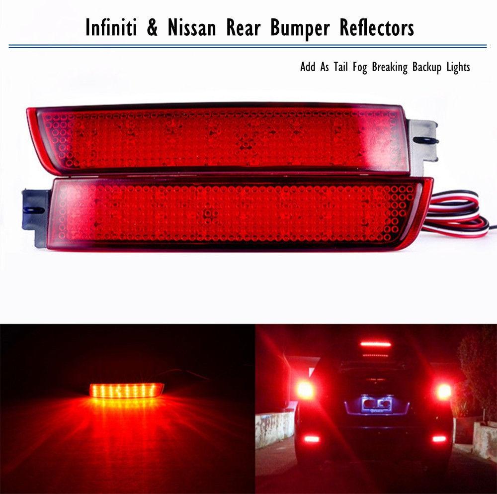 Rear Bumper Reflector LED Tail Breaking Fog Backup Lights For Infiniti & For Nissan Juke Murano Quest Sentra 11 12 13 14 rear bumper reflector light for nissan juke murano sentra quest infiniti fx35 fx37 fx50 led red fog parking brake tail lamp